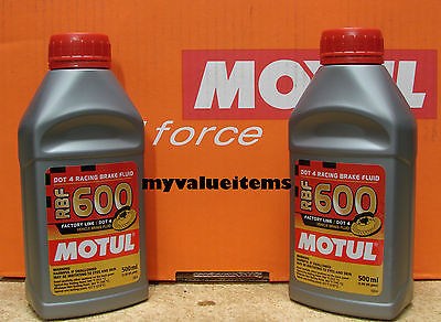 2 Motul RBF 600 Factory Line DOT 4 RACING BRAKE FLUID 100% Synthetic 500 ml Each