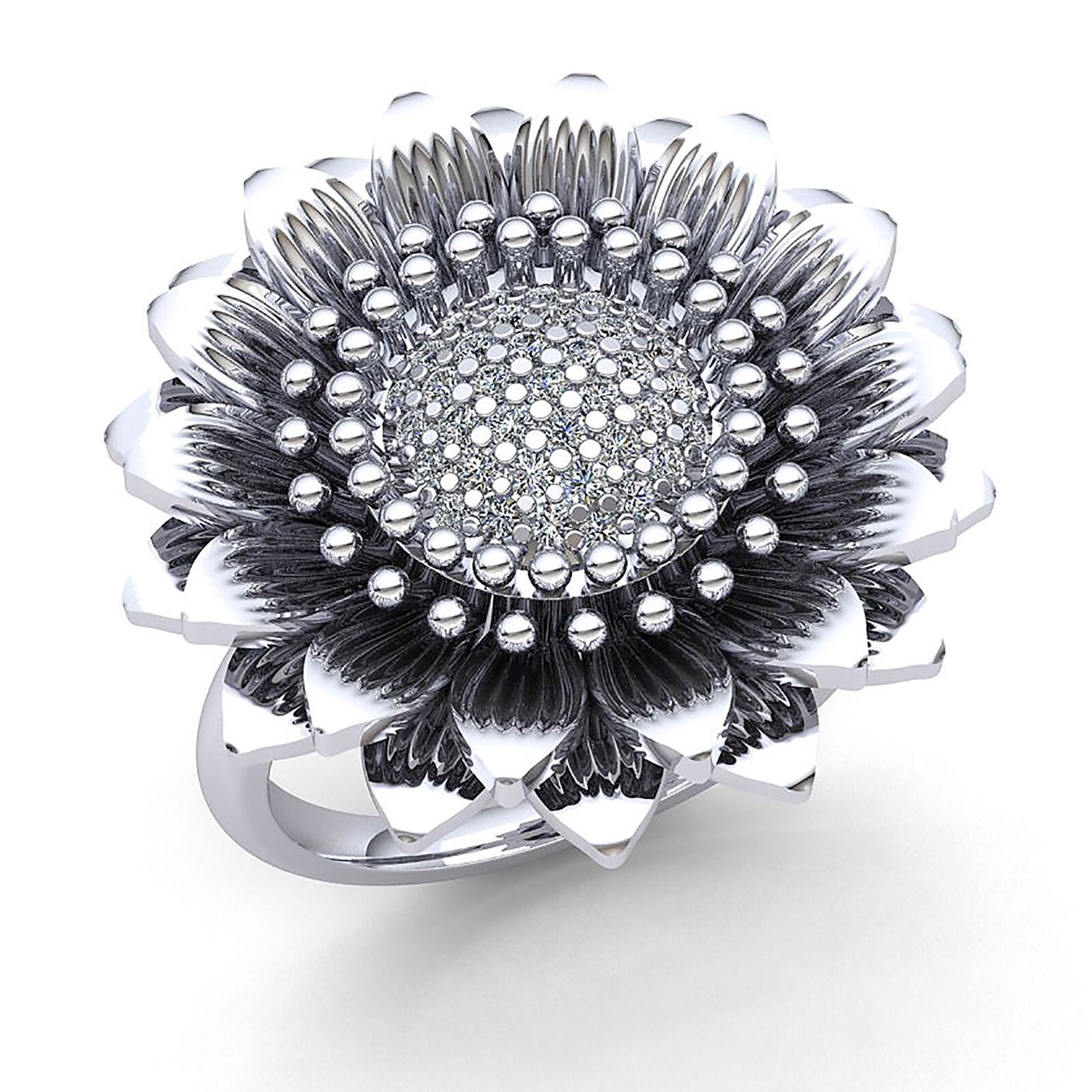 2ct Round Cut Diamond Ladies Flower Vintage Anniversary Engagement Ring 14K gold