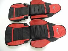 2005-2011 C6 Corvette Genuine Leather Seat Covers Black/Red Sport Seats