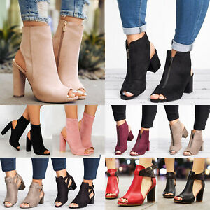 Women-Block-Mid-High-Heel-Chunky-Sandals-Peep-Toe-Ankle-Strap-Boots-Party-Shoes