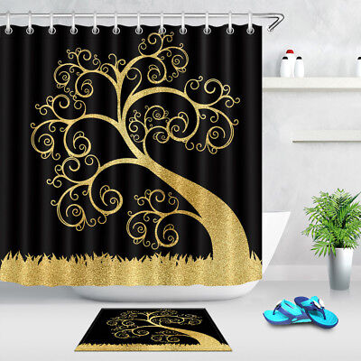 Bathroom Shower Curtain Set Black Background Gold Life of Tree Waterpoof Fabric