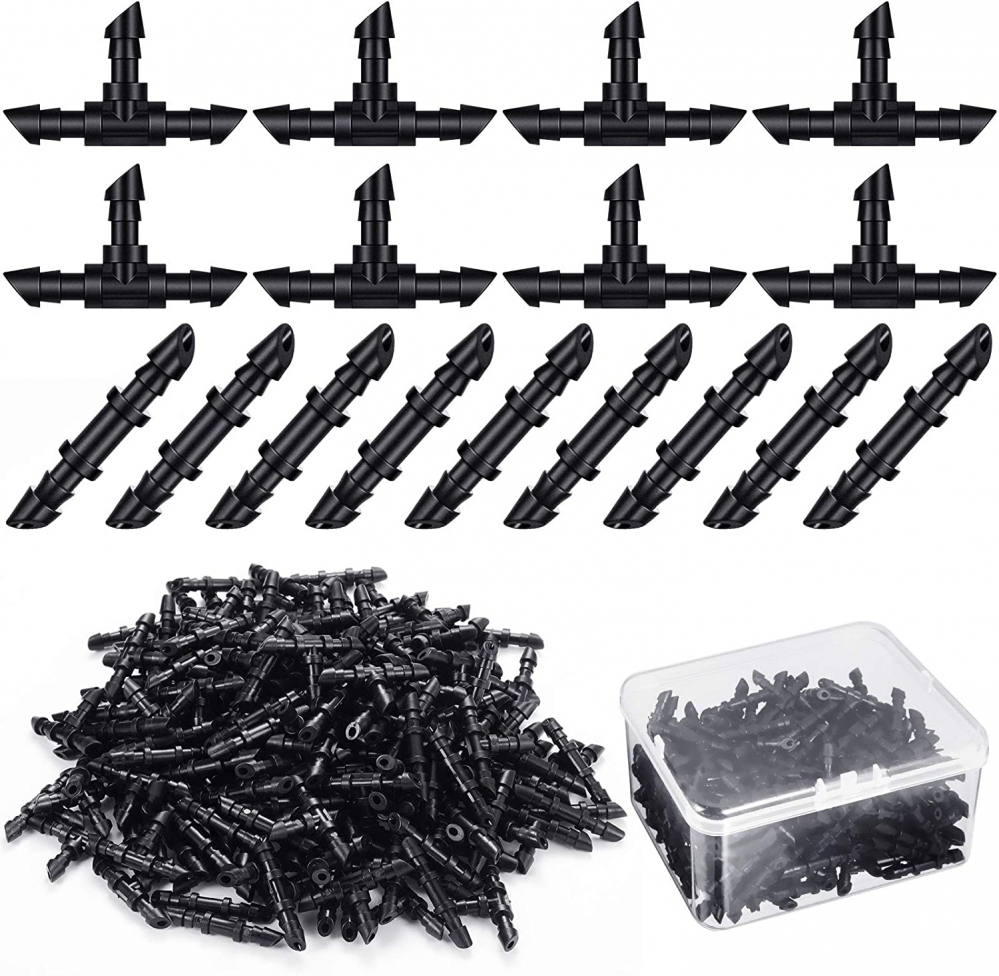 Zonon 200 Pieces Drip Irrigation Fittings Kit with Plastic Box, 100 Barbed...