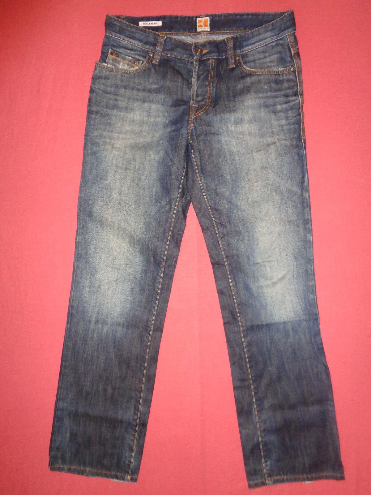Designer Hugo Boss arancia-Jeans Denim Blu Da Uomo-Vita 32 Gamba 32-J 675