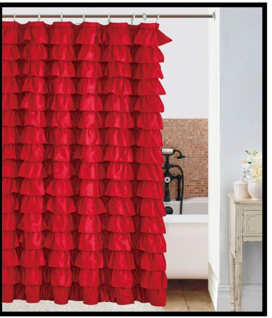 Waterfall RED Ruffled Shower Curtain