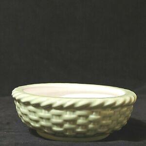 Vintage Ceramic Basket Weave Bowl Green w/Honey Bee/Flower Inside Preowned