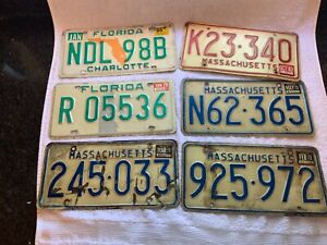 LOT-OF-6-FLORIDA-AND-MASSACHUSETTS-LICENSE-PLATES-VINTAGE-RED-GREEN-BLUE