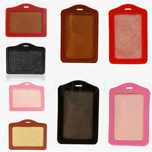 2-5pcs-PU-Leather-Business-Badge-Name-Tag-ID-Clear-Card-Holder-Pocket-Pouch-Case