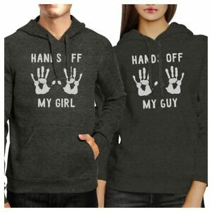 87933b9a Hands Off My Girl And My Guy Matching Couple Dark Grey Hoodie | eBay