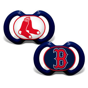 Boston Red Sox Pacifiers 2 Pack Set Infant Baby Fanatic BPA Free MLB Hologram