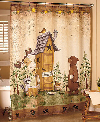 Shower Curtain Nature Calls Bathroom Outhouse Decor Bear Cabin Bath Lodge Moose