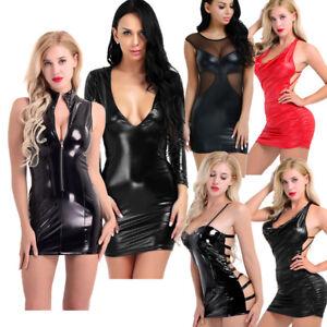 Sexy-Women-039-s-Nightwear-Slim-V-Neck-Shiny-Leather-Bodycon-Club-Party-Pencil-Dress