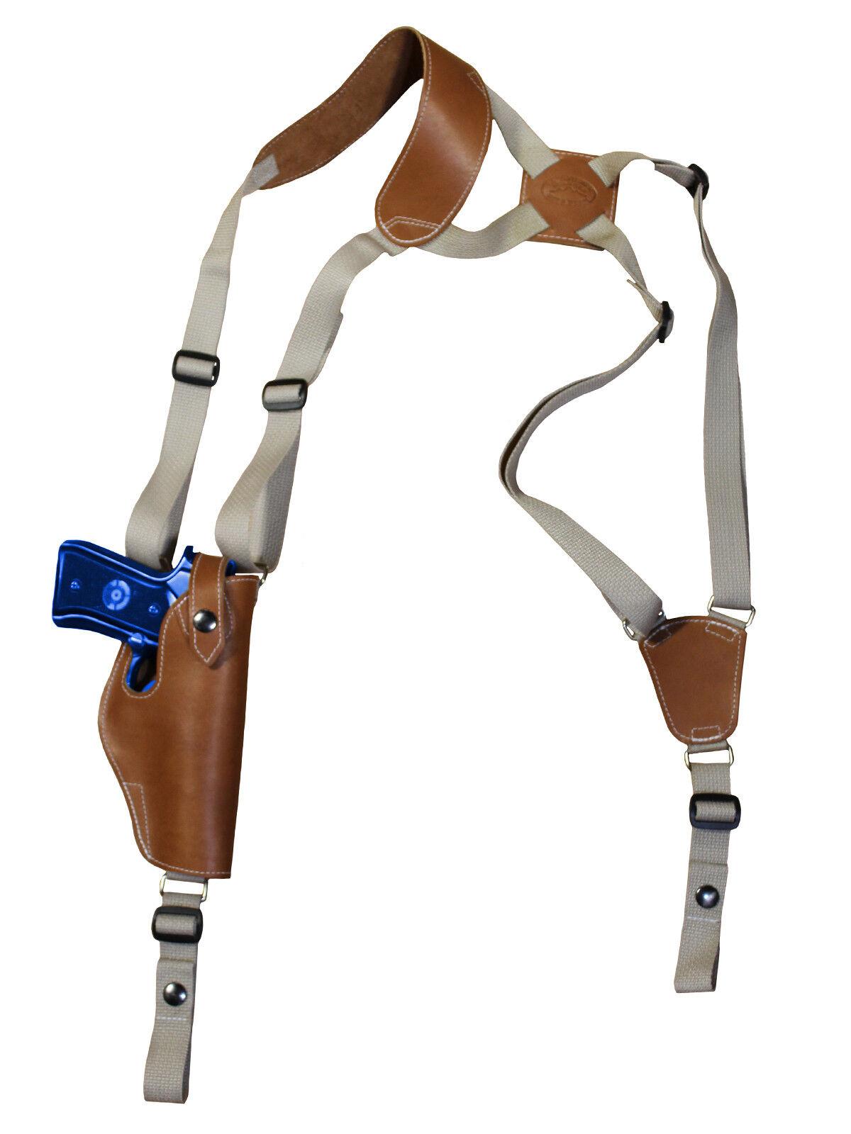 Nueva Funda de Cuero de hombro Bronceado Barsony verdeICAL TAURUS Tamaño Completo 9 mm 40 45