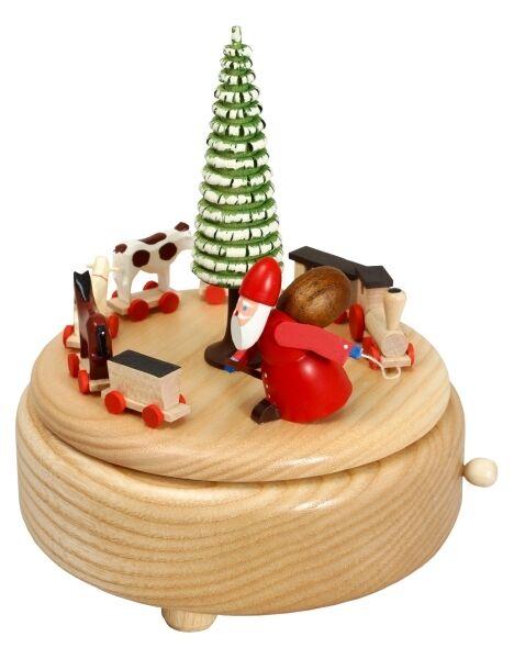 Caja de Música Natural ruprechtzug 15,5 CM Reloj de Música Nuevo Navidad Seiffen