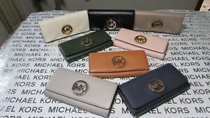 b954635ab9e009 Image is loading NWT-Michael-Kors-Leather-Fulton-Flap-Continental-Wallet