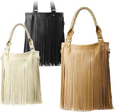 Damentasche Schultertasche mit Fransen BOHO- Style Kunstleder Hippie Style