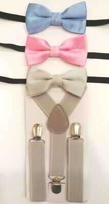 """Baby//Toddler//Young Boy/'s Blue Theme BowTies w//wo Navy Blue 25/"""" or 36/"""" Suspenders"""