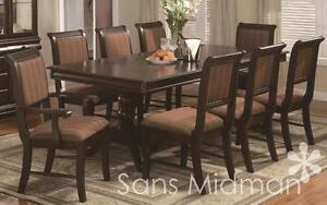 9 Piece Formal Bordeaux Dining Room Set Table w/18 Leaf, and 8 Chairs NEW!