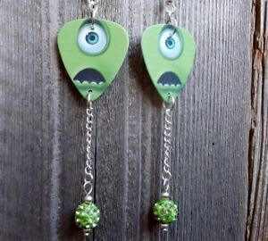 56b69b768 Monsters Inc. Mike Guitar Pick Earrings with Green Pave Bead Dangles ...