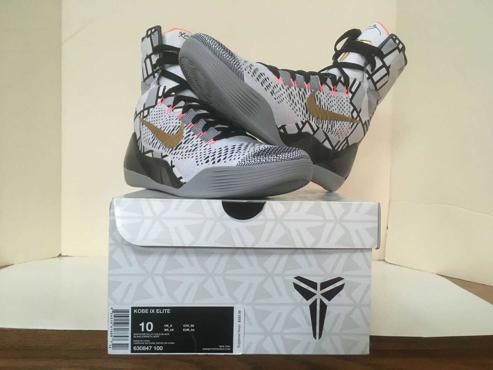 Nike Kobe IX 9 Elite gold Fundamentals size 10 deadstock w receipt