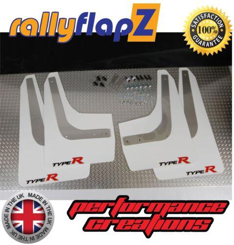 fn2 Barro Solapas para caber Honda Civic Type R 2007 En Blanco 3 Mm De Pvc con el logotipo pequeñas