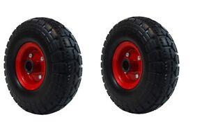 "2 X PU 10"" METAL Puncture Proof sack truck trolley wheel 4.10/3.50-4 - 1"" BORE"