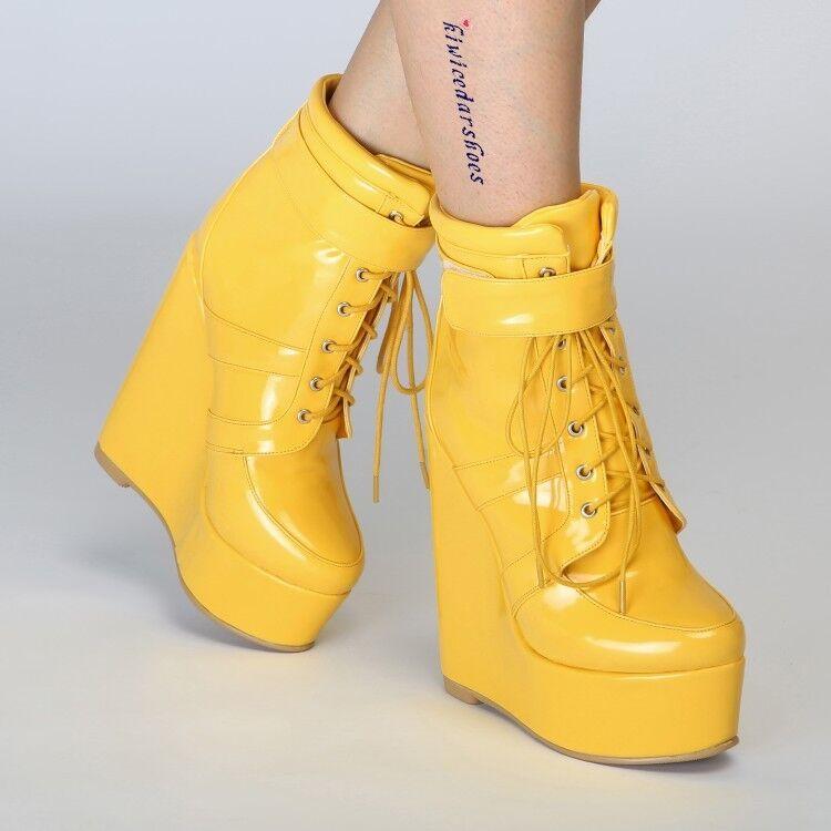 Débardeur Femme Fashion Verni À Lacets Plateforme Talon Compensé Bottines bottes chaussures  43