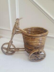 Vintage-Wooden-Sticks-amp-Wicker-Tricycle-Bike-Planter-Basket-Bamboo-Rattan-Boho