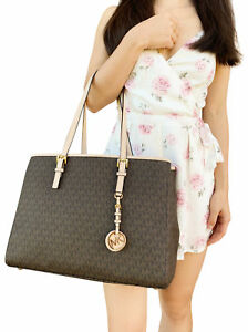 Michael Kors Jet Set Travel Large East West Tote Brown Mk Signature ... d449b8177f