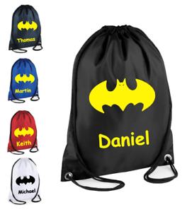 Personalised-Drawstring-Bag-BATMAN-School-Gym-PE-Kit-Sport-Boys