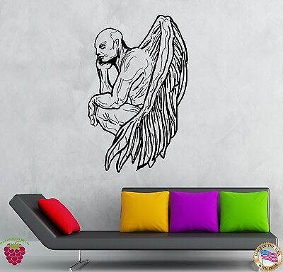 Wall Stickers Vinyl Decal Demon Zombie Vampire With Wings Creepy Decor (z2127)