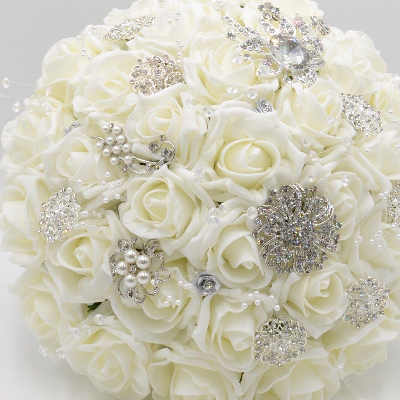 Artificielle Mariage Fleurs brides Posy bouquet Ivoire en Ivoire bouquet Roses Avec Broches e3e9eb