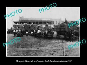 OLD-LARGE-HISTORIC-PHOTO-OF-MEMPHIS-TEXAS-WAGONS-LOADED-WITH-COTTON-BALES-c1920