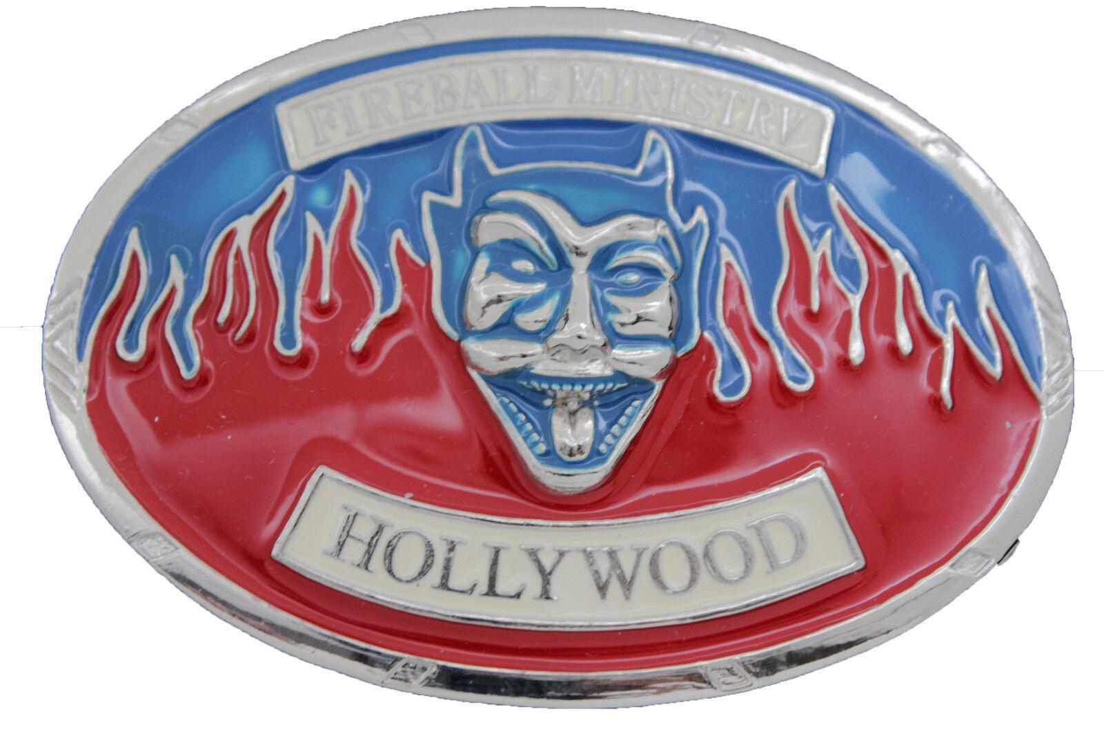 Herren Damen Silber Metall Gürtelschnalle Hollywood Fireball Ministry Rock &