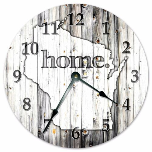 """2259 WISCONSIN RUSTIC HOME STATE CLOCK Large 10.5/"""" Wall Clock"""