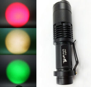 LED Red//Green//Yellow Focus Zoomable Flashlight Torch Lighting Lamp UK RLTS