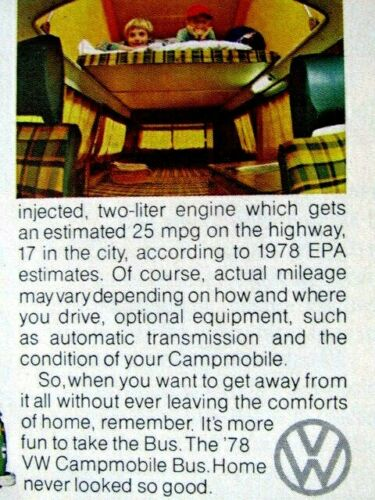 "1978 Volkswagen Bus CAMPER-Sleeps Six Campmobile-Original Print Ad 8.5 x 11/"""