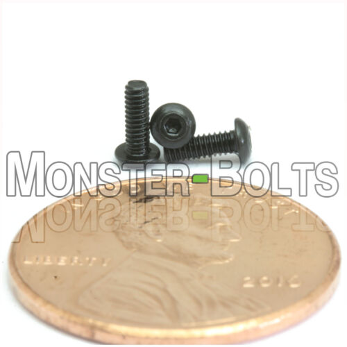 "#0-80 x 3//16/"" BUTTON HEAD Socket Cap Screws Qty 10 Alloy Steel Black Oxide"