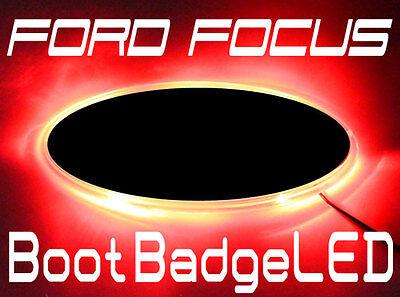 Ford Focus Custom Mod Illuminating Boot LED BADGE Back Plate Trim RED