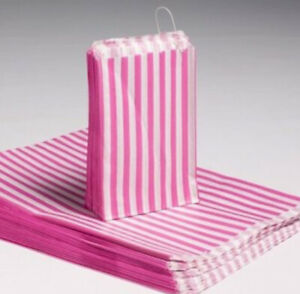 Bulk-Buy-Wholesale-1000-7-x-9-Retro-Candy-pink-Stripe-Paper-Bags-Sweets-Candy