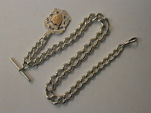 VINTAGE-SILVER-WATCH-CHAIN-amp-FOB-HEAVY-LINKS-MARKED-SILVER-GRADUATED-CURB
