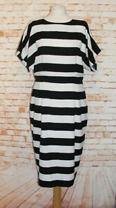 ASOS-pencil-dress-size-16-batwing-open-back-80s-style-wide-stripes-black-white