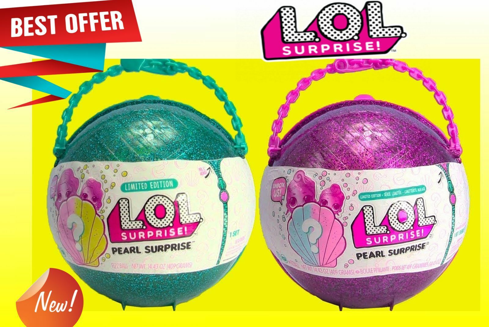 LOL Surprise  Pearl Green Purple Style 1 or 2 Mermaid Ball Doll Limited Edition