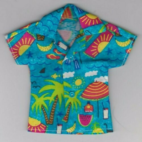 Homemade Doll Clothes-COOL BEACH Print Shirt fits Ken Doll B9