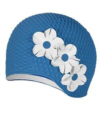 Vintage Style Ladies Blue Bubble Floral Swim Cap Ivory Flowers Adult New