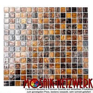 Glasmosaik braun dunkelbraun kupfer Küche Wand Boden WC Bad WB54-1306 |1 Matte