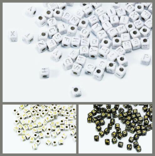 6x6 mm Kunststoff Perlen Perle Buchstabenperlen Würfel A-Z mix 5x5 P-49