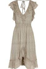 L'agence Net A Porter Grey Sophie Ruffle Silk Chiffon Dress UK 10 US 6 NWT
