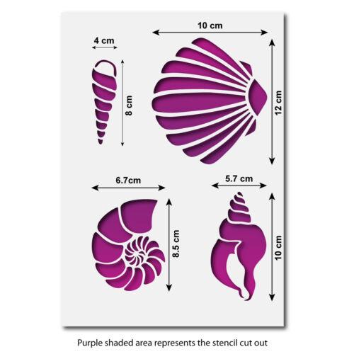 Craftstar Sea Shell Pochoir Pack 4 différents SHELL Pochoirs sur une feuille A4