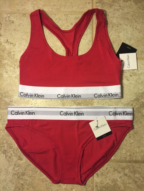 9947c5fe05450 CALVIN KLEIN Bralette Bikini Set SPORT BRA MODERN FIT Racerback Tinted DARK  PINK
