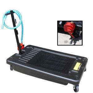 17 Gallon Oil Drain Pan Low Profile Portable Dolly W